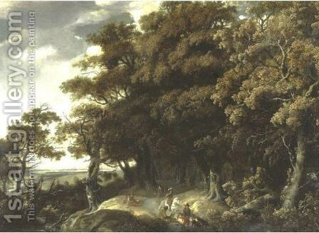 Extensive Landscape With Travelers by (after) Jacob Salomonsz. Ruysdael - Reproduction Oil Painting