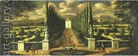 View Of An Italian Villa by Continental School - Reproduction Oil Painting