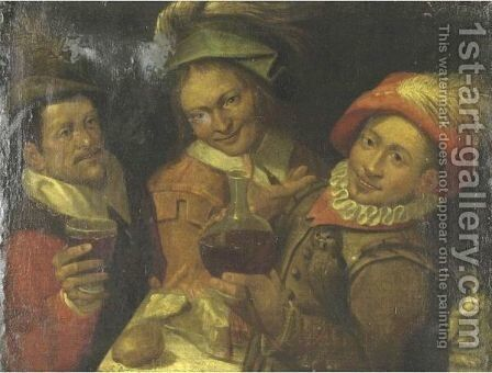 Three Men Making Merry by (after) Bartolomeo Passerotti - Reproduction Oil Painting