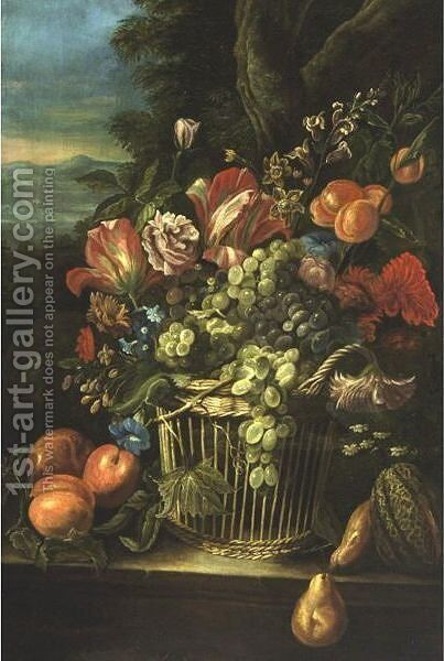 Still Life With Flowers And Grapes In A Basket by Italian School - Reproduction Oil Painting