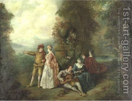 An Elegant Musical Party by (after) Watteau, Jean Antoine - Reproduction Oil Painting