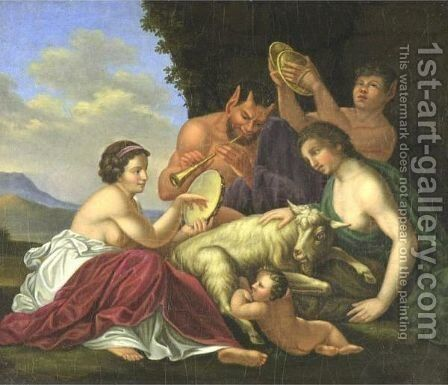 Pan In Arcadia by Continental School - Reproduction Oil Painting
