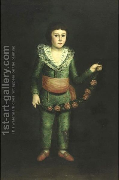 Portrait Of A Boy Holding A Garland Of Flowers by (after) Francisco De Goya Y Lucientes - Reproduction Oil Painting