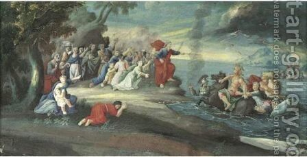 Moses Parting The Red Sea by Northern School - Reproduction Oil Painting
