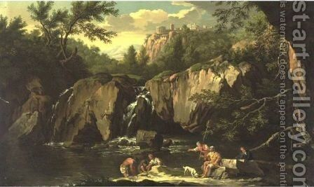 View Of Tivoli With Figures In The Foreground by (after)  Claude-Joseph Vernet - Reproduction Oil Painting