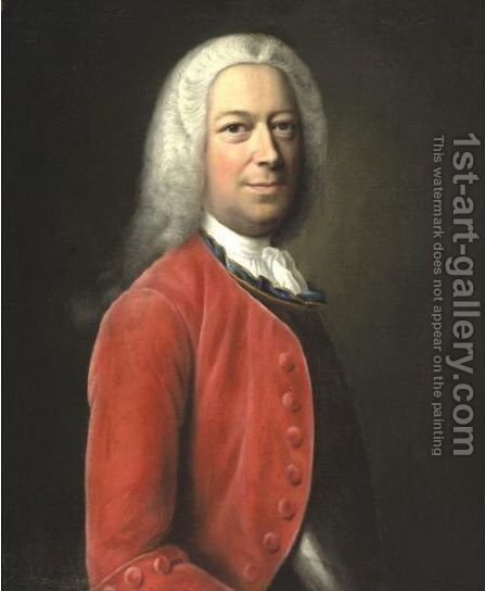Portrait Of A Gentleman In A Red Jacket by Balthasar Denner - Reproduction Oil Painting