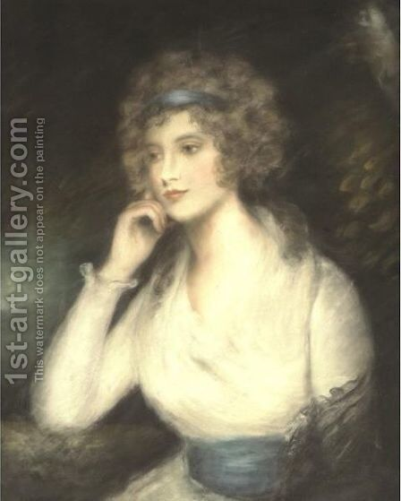 Portrait Of A Lady In A White Dress by (after) Russell, John - Reproduction Oil Painting