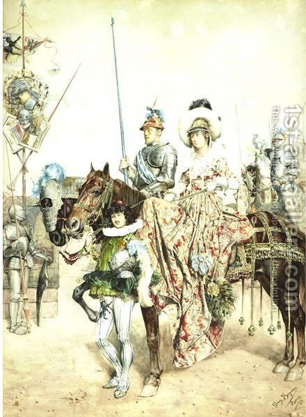 The Wedding Procession by Guiseppe Signorini - Reproduction Oil Painting