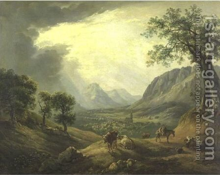 Extensive Landscape With Cattle And A Village In A Distance by Ignaz Hofer - Reproduction Oil Painting