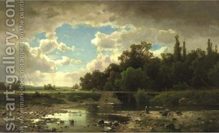 Landscape With Stream by Adolf Chwala - Reproduction Oil Painting