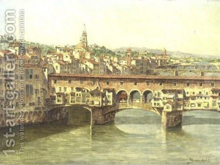 View Of The Ponte Vecchio by Antonietta Brandeis - Reproduction Oil Painting