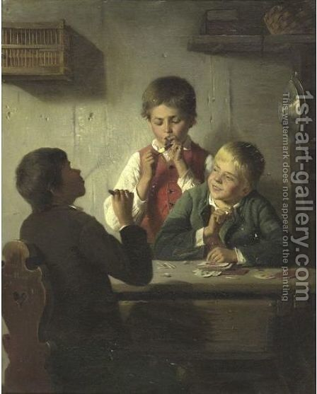 The Young Smokers by August Heyn - Reproduction Oil Painting