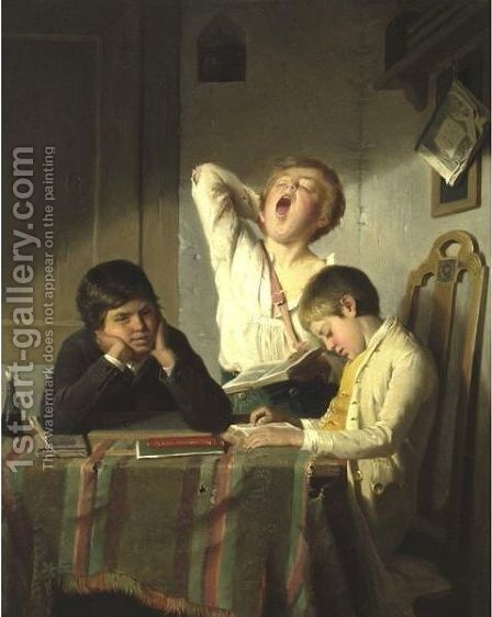 Bored With Lessons by August Heyn - Reproduction Oil Painting