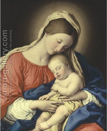 Madonna And Sleeping Christ Child by Giovanni Battista Salvi, Il Sassoferrato - Reproduction Oil Painting