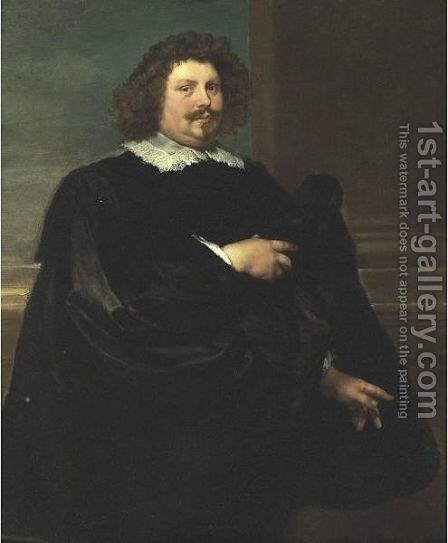 Portrait Of A Gentleman In Black by (after) Lucas The Younger Franchoys - Reproduction Oil Painting