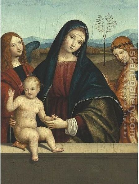 The Madonna And Child Standing Behind A Parapet, Flanked By Two Angels by (after) Giacomo Francia, Called Raibolini - Reproduction Oil Painting
