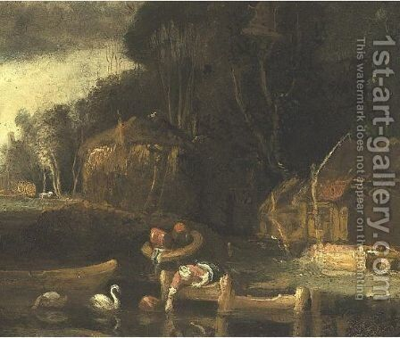 Landscape With A Farm by (after) Harmenszoon Van Rijn Rembrandt - Reproduction Oil Painting