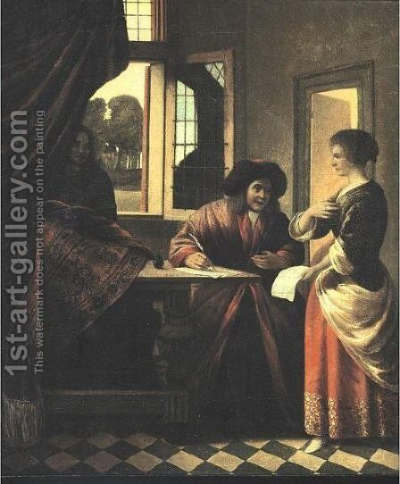 Interior Scene With A Man At A Writing Table by (after) Pieter De Hooch - Reproduction Oil Painting
