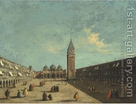 View Of Piazza San Marco Looking Eastwards Towards The Basilica And The Campanile, Venice by (after) Francesco Guardi - Reproduction Oil Painting