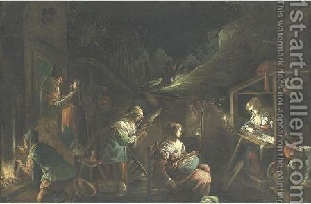 Nocturnal Landscape With The Madonna And Child by (after) Jacopo Bassano (Jacopo Da Ponte - Reproduction Oil Painting