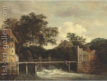 Two Water Mills And An Open Sluice by (after) Jacob Van Ruisdael - Reproduction Oil Painting