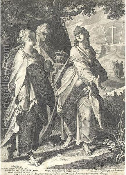 The Three Women Returning From The Tomb, After Bartolomeus Spranger by Aegidius Sadeler or Saedeler - Reproduction Oil Painting