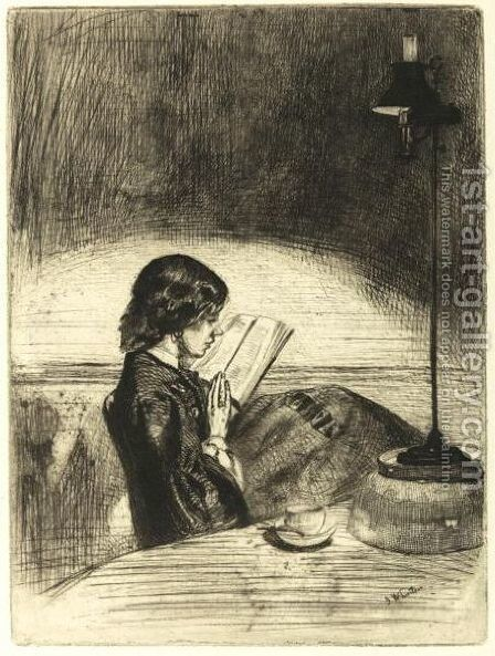 Reading By Lamplight by James Abbott McNeill Whistler - Reproduction Oil Painting