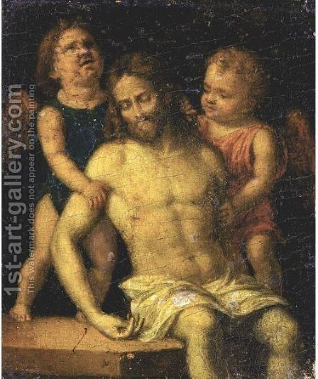 The Dead Christ Supported By Two Angels by (after) Giovanni Battista Cima Da Conegliano - Reproduction Oil Painting