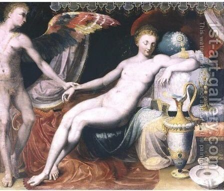 Venus And Cupid by (after) Francesco Primaticcio - Reproduction Oil Painting