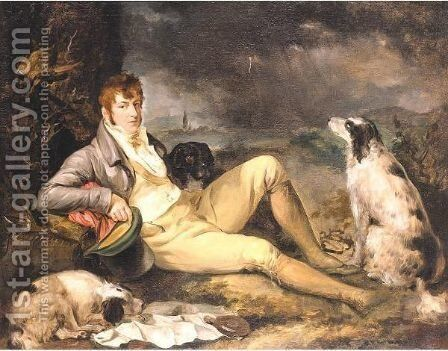 Portrait Of A Gentleman With Two Spaniels by (after) Ramsay Richard Reinagle - Reproduction Oil Painting