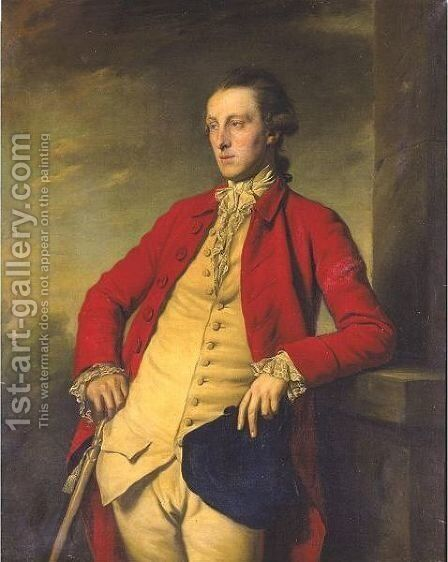 Portrait Of Sir John Weyland (1744 - 1825), Three Quarter Length In A Red Coat, A Buff Waistcoat Holding A Tricorn Hat by Sir Nathaniel Dance-Holland - Reproduction Oil Painting