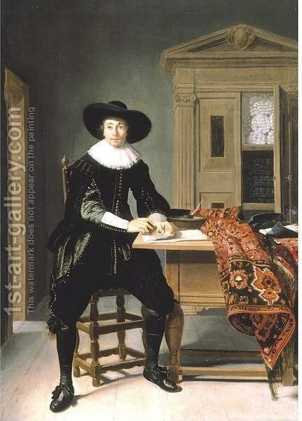 Portrait Of A Gentleman, Full Length, Seated At A Table by Thomas De Keyser - Reproduction Oil Painting