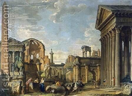 An Architectural Capriccio Of Roman Ruins And The Statue Of Marcus Aurelius On Horseback With A Soldier Returning, Other Soldiers And Figures Nearby by Giovanni Paolo Panini - Reproduction Oil Painting