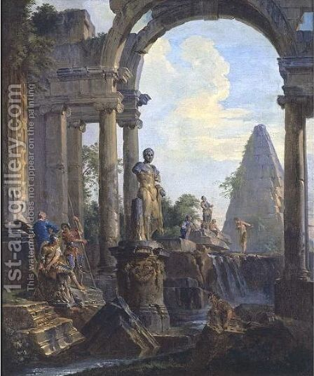 An Architectural Capriccio With The Pyramid Of Caius Cestius And A Classical Statue Of Meleager, Soldiers And Other Figures Conversing by Giovanni Paolo Panini - Reproduction Oil Painting