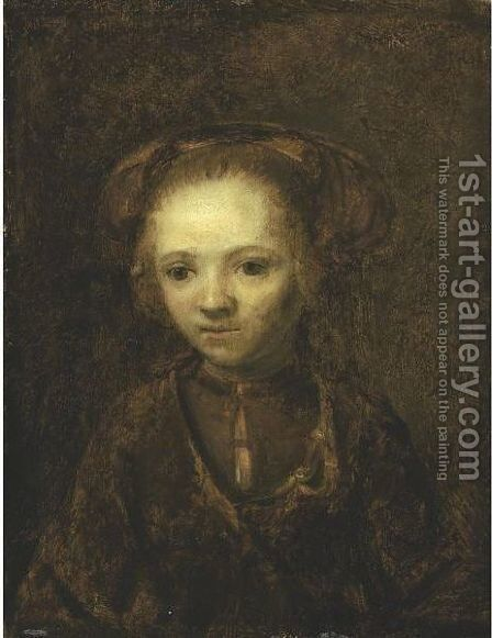 Portrait Of A Girl by (after) Harmenszoon Van Rijn Rembrandt - Reproduction Oil Painting