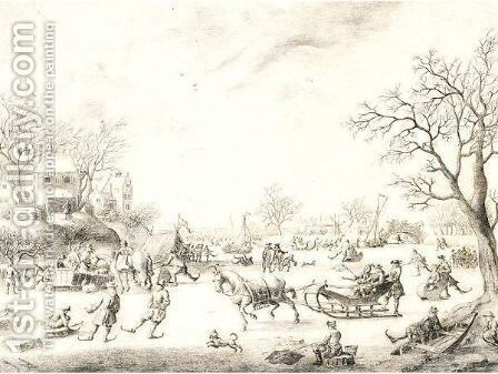 A Winter Landscape With Skaters, Kolf Players And Elegant Townsfolk On A Frozen River by Adriaen Cornelisz. Van Salm - Reproduction Oil Painting