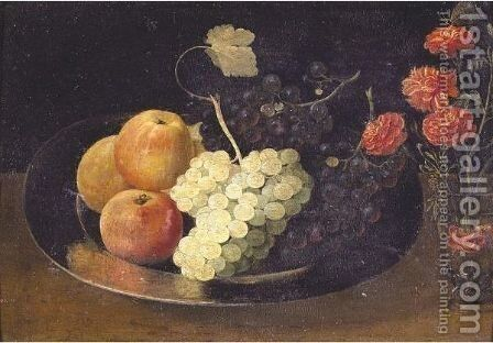 Still Life With Grapes And Apples On A Pewter Plate And A Glass With Carnations by Jacob Fopsen van Es - Reproduction Oil Painting
