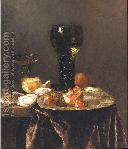 Still Life With A Roemer, A Pomegranate And Oysters All Resting On A Partially Draped Table by Abraham Hendrickz Van Beyeren - Reproduction Oil Painting