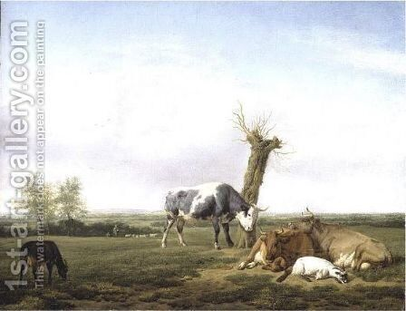 Cattle And Goats By A Pollarded Tree In A Meadow, Shepherd Boys Approaching Beyond by (after) Adriaen Van De Velde - Reproduction Oil Painting