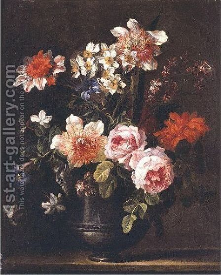 Still Life Of Roses, Carnations, Chrysanthemums, Carcissi, Morning Glory And Other Flowers In A Pewter Urn Resting On A Ledge by Jean-Baptiste Monnoyer - Reproduction Oil Painting