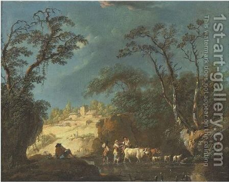 Peasants By A Stream by Jean-Baptiste Pillement - Reproduction Oil Painting