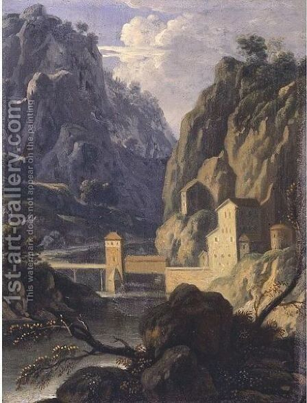 A Rocky Landscape With A Bridge And Buildings By A River by (after) Jan Frans Van Orizzonte (see Bloemen) - Reproduction Oil Painting
