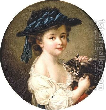 Portrait Of A Girl Holding A Cat by (after) Franois-Hubert Drouais - Reproduction Oil Painting