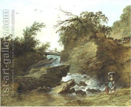 Landscape With Figures by Hubert Robert - Reproduction Oil Painting