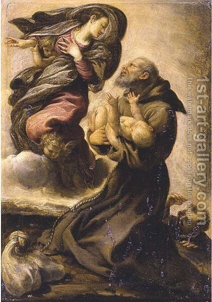 Saint Francis Holding The Infant Christ In The Presence Of The Virgin by (after) Pietro Faccini - Reproduction Oil Painting