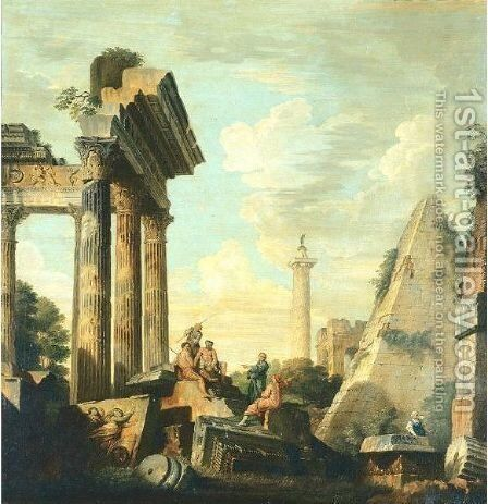 Architectural Capriccio With Trajan's Column And The Pryamid Of Cestius by (after) Giovanni Paolo Panini - Reproduction Oil Painting
