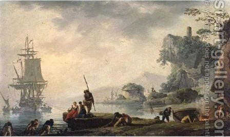 The Return Of The Fishermen In A Coastal Landscape With Ruins In The Foreground by Claude-joseph Vernet - Reproduction Oil Painting