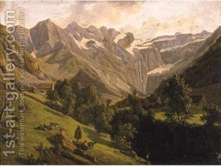 View Of The Canyon And Waterfall Of Gavarnie by Alexandre-Louis-Robert-Millin Duperreux - Reproduction Oil Painting