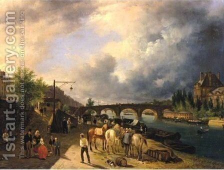 View Of The Seine's  Left Bank And The Louvre, Paris by Guiseppe Canella - Reproduction Oil Painting