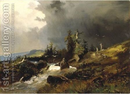 A Stream Running Through An Mountainous Landscape by Alexandre Calame - Reproduction Oil Painting